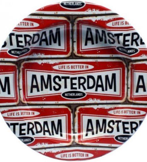 achat cbd Cendrier en métal plaque Amsterdam Rouge