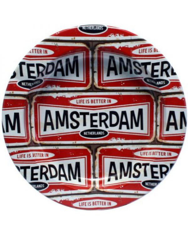 photo cbd Cendrier plaque Amsterdam Rouge