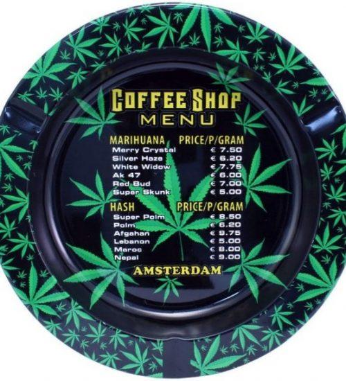 achat cbd Cendrier en métal Amsterdam Coffeeshop Menu
