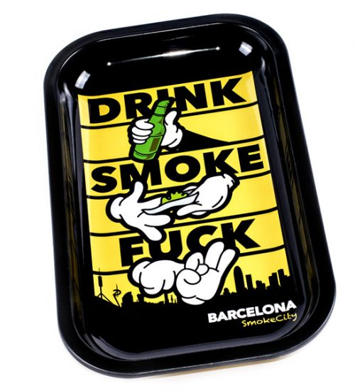 achat cbd Plateau en métal Drink Smoke F***k